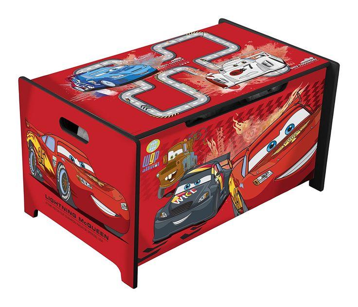 Disney Cars Spielzeugkiste | Spielzeugtruhe für das Kinderzimmer | Stauraum für kleine Auto Fans