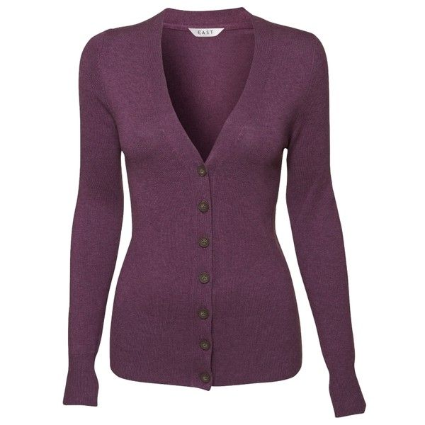 East Tallulah V-Neck Cardigan, Mauve (98 BRL) ❤ liked on Polyvore featuring tops, cardigans, outerwear, knitwear, button front cardigan, cardigan top, v-neck tops, v neck cardigan and purple top