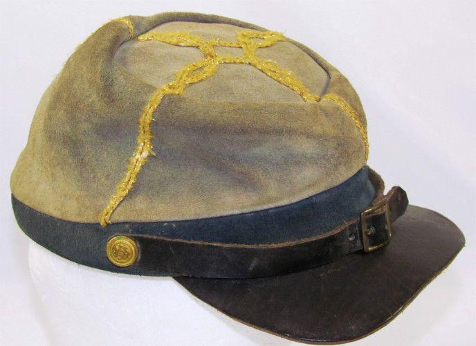 Leather Civil War Confederate Infantry Captain's Hat