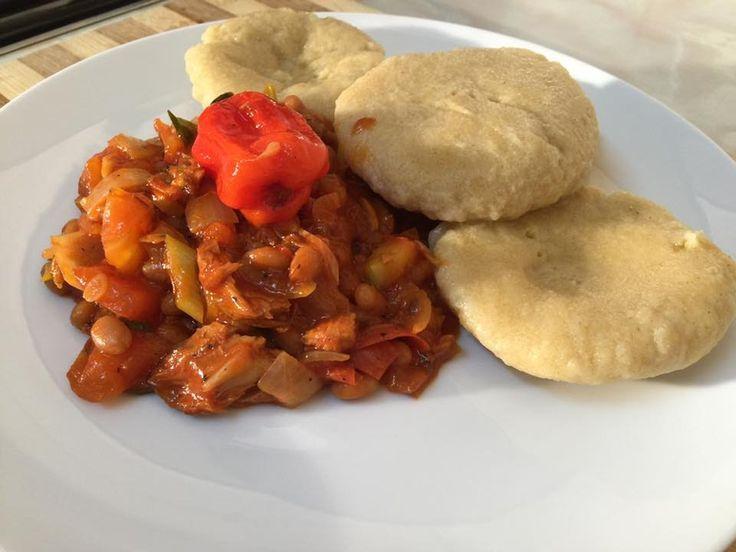 mackerel  beans served with dumpling jamaican way of