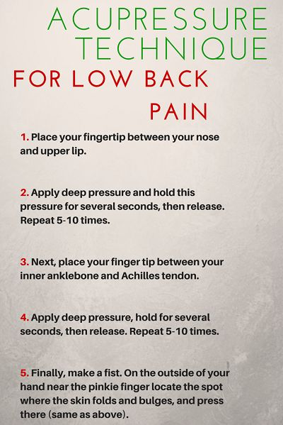 Acupressure points for fast low back pain inflammation relief