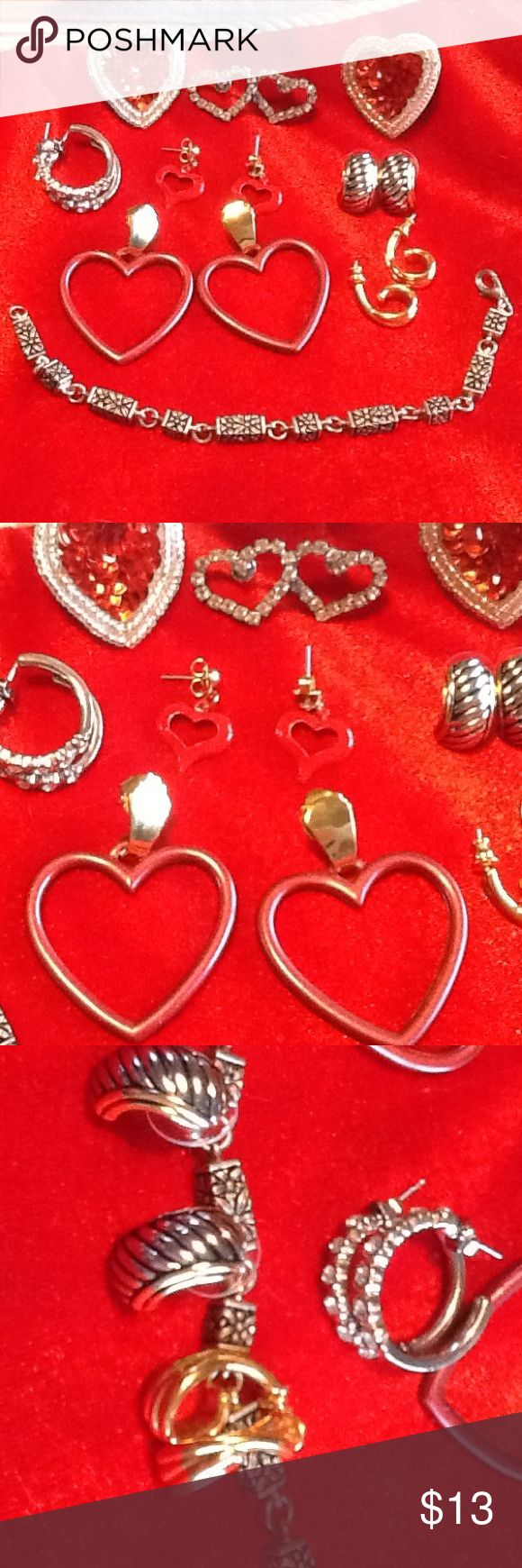Valentine's earrings& bracelet package A mix of a large pair of red/mauve color heart earrings with gold plate, old silver rhinestone hearts, small red hearts, and a large pair of red sequin silver heart earrings.  This includes a silver loop earrings with circular rhinestones, a pair of costume gold earrings, and a pair of silver, gold, and black background earrings.  This comes with a 7 inch bracelet with floral box etching.  Most of these items were truly never worn! Jewelry Earrings