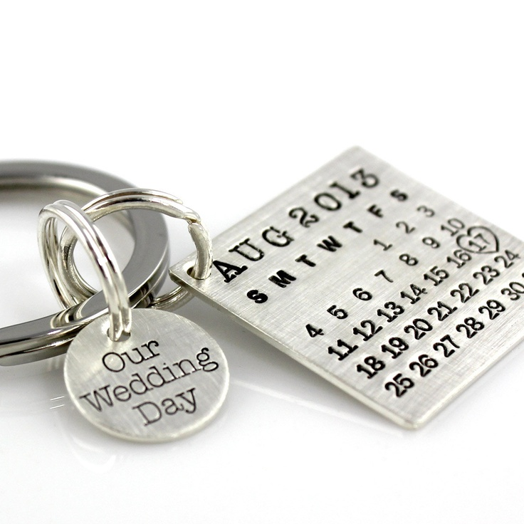 Our Wedding Day Keychain - Mark Your Calendar Keychain hand stamped and personalized sterling silver key chain with charm. $102.00, via Etsy.
