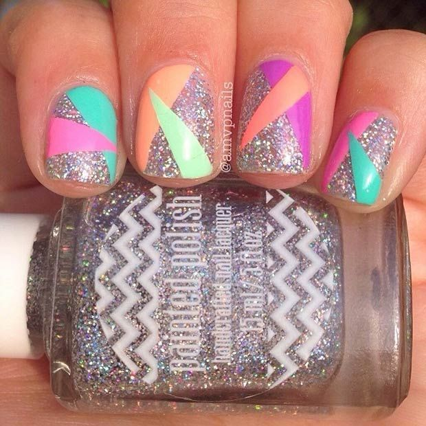 Silver Glitter Nails + Colorful Triangles