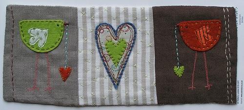 Lovebirds fabric collage.  love these birdies.: Photo, Valentines Birds