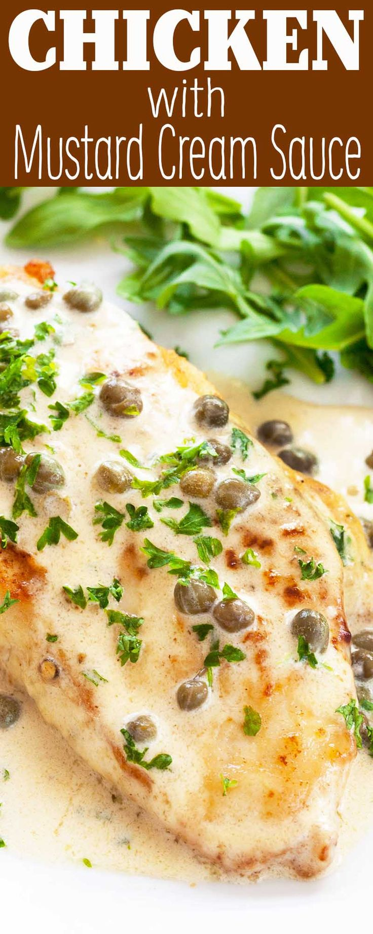 EASY chicken breasts with a QUICK mustard cream sauce! Ready in under 30 minutes. Great with rice, pasta, or a green salad.