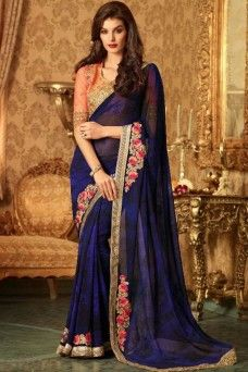 Blue Designer Georgette Gold Border Party Wear Saree  #blue #designer #casualwear #bollywood #indian #georgette #tfh #gebastore #ethnic #embroidered #fancy #stylish #modelsaree #sarees #sari #lehenga_saree