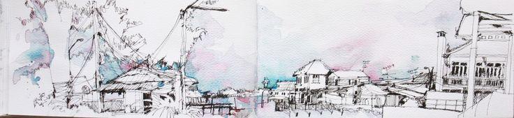 Sketch:Panorama Chaophraya river,bangkok,Thailand
