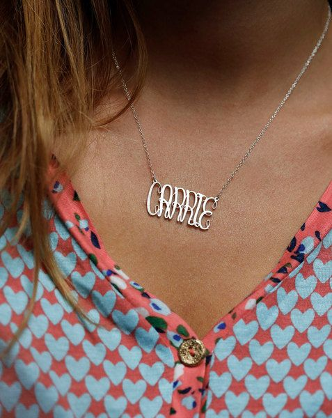 Silver Carrie Necklace, Name Necklace, Silver Name from Capucinne by DaWanda.com