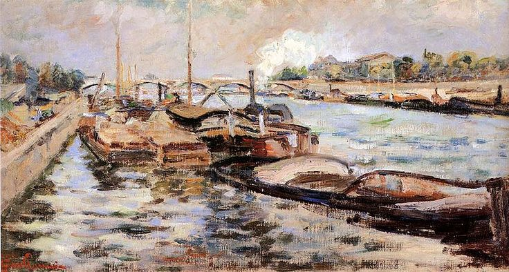 This photo is called The Seine. The Seine is a 776 km long river and an important commercial waterway within the Paris Basin in the North of France. Cézanne had attempted his first etching based on Guillaumin paintings of barges on the River Seine.