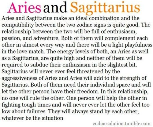 Aries and Sagittarius Compatibility This one is so cute <3