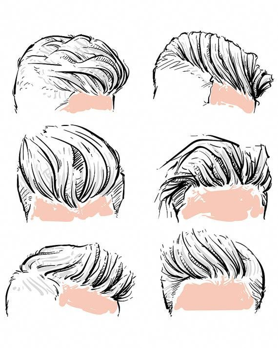 Vector fashion set of hipster man hair style. Hand drawn vector illustration. hipster with clipping path. (EPS, JPG)