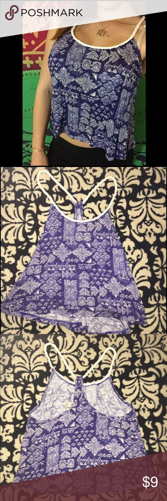 Blue & White Forever 21 Braided Racerback Crop top Only worn twice! In perfect condition. Printed blue and white crop top. Is a racerback. I suggest hand washing and drying bc the straps can get messed up. Forever 21 Tops