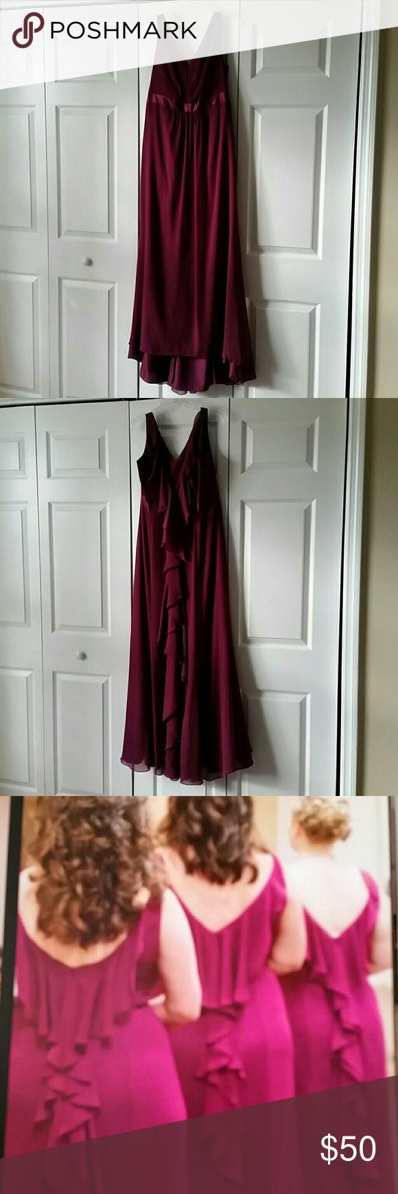 Davids Bridal bridesmaid dress The perfect dress! Stunning back! Color:Sangria Davids Bridal Dresses Wedding