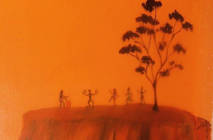 Afrikanischer Tanz, Wandbemalung, Detail, Dispersion auf Tapete