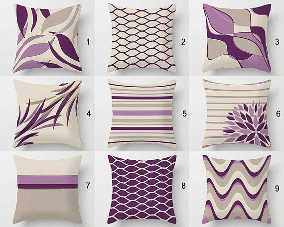 Purple Throw Pillow Cover Lavender Lilac Violet Beige Throw Pillows Cushions Geometric Pillows Pillow Cover 20x20 26x26 18x18 16x16 Decoracion De Cojines Estampados De Almohada Almohadas De Colores