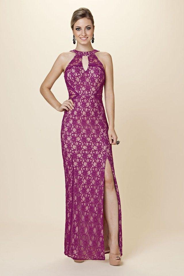 Ellouva Coleção Primavera 2014/15: Vestido longo rendado com fenda | Código 12018 | Azul royal, Nude, Pink, Turquesa, Uva | P, M, G, GG #ellouva #vestidosdefesta