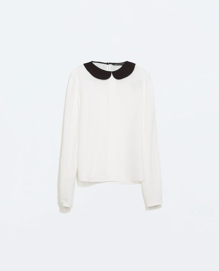 SHIRT WITH CONTRASTING COLLAR-Blouses-Tops-WOMAN | ZARA United States