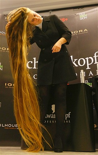 Anna Janko has the longest hair in the Ukraine at 7.25 feet