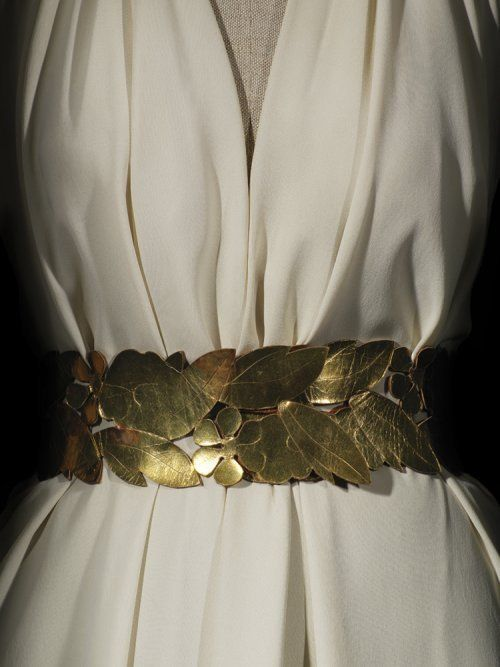 Madeleine Vionnet - gold belt, motif of leaves, flowers, berries, over cream-colored dress