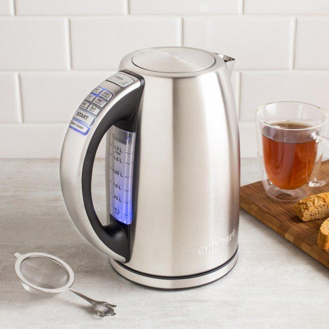 For tea to reach its full flavour, it should be steeped at just the right temperature. The Cuisinart PerfecTemp Electrics Kettle has 6 preset temperatures for different varieties of tea. 1500-watts provide fast heat-up, and a Keep Warm option will maintain the set temperature for 30 minutes. The kettle can even be removed from the power base for up to 2 minutes without shutting off. Cuisinart continues to make life civilized, easy and delicious!