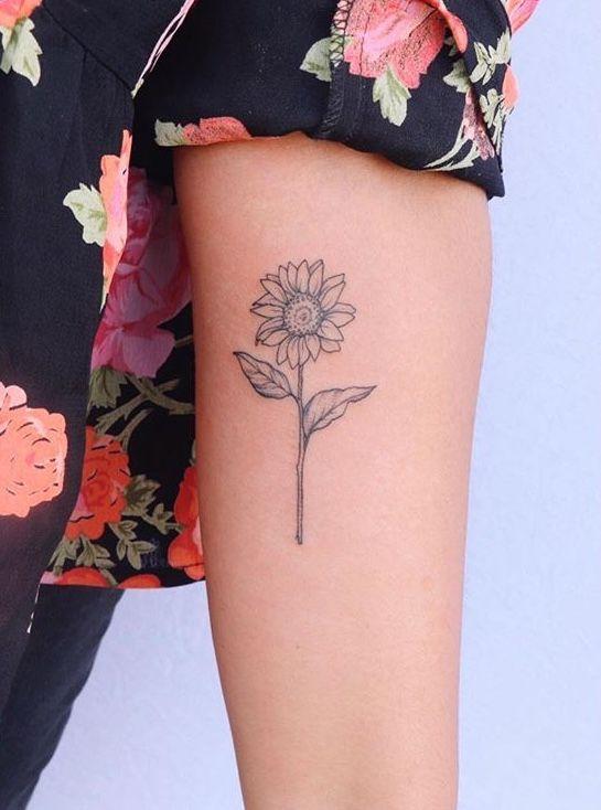 Flower Tattoo On The Inner Forearm Tattoo Artist Doy: Sunflower Upper Inner Arm Tattoo