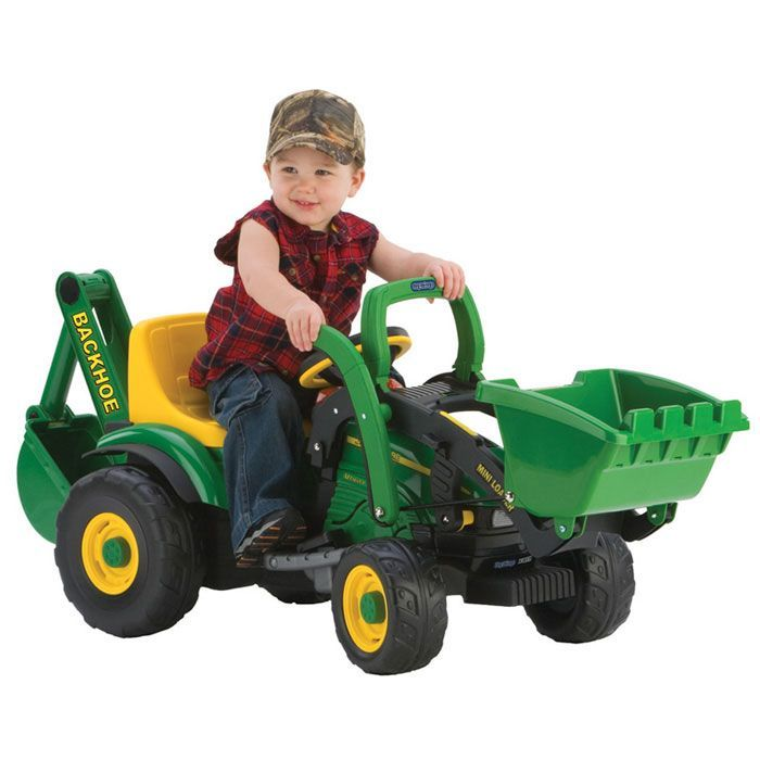 John Deere Kids Ride On Steel Pedal Tractor Trailer - Ertl 15966 #rideons #kids #kidsrideons