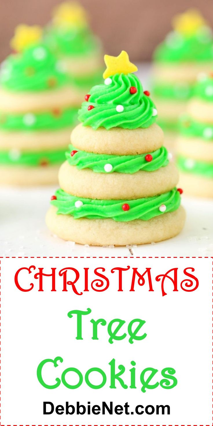 These beautiful Christmas Tree Cookies will be the hit of your bake sale or cookie exchange. They're so easy to make, even the kids can help! | DebbieNet.com