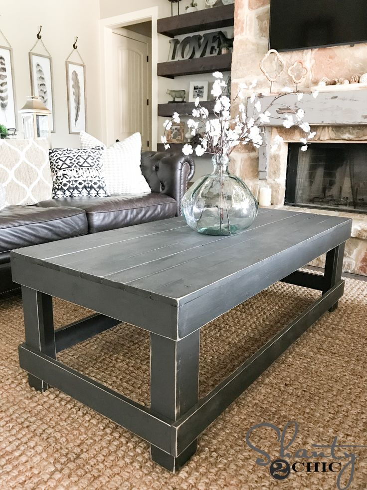Build this DIY Coffee Table with only two tools and thirteen 1x4 boards! Free plans and how-to video at www.shanty-2-chic.com!