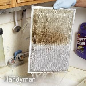 "If you ran your vent hood grease filter through your dishwasher or tried ""grease cutting"" household cleaners, but had disappointing results, try a water-based degreaser from the auto parts store. Simply fill the sink with hot water and degreaser, drop in the filter and let the degreaser do all the work. Our filter came out sparkling clean in just a few minutes. Then rinse it off."