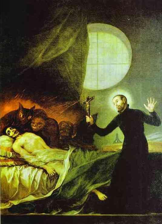 Saint François Borgia Exorsizing, huile de Francisco De Goya (1746-1828, Spain)