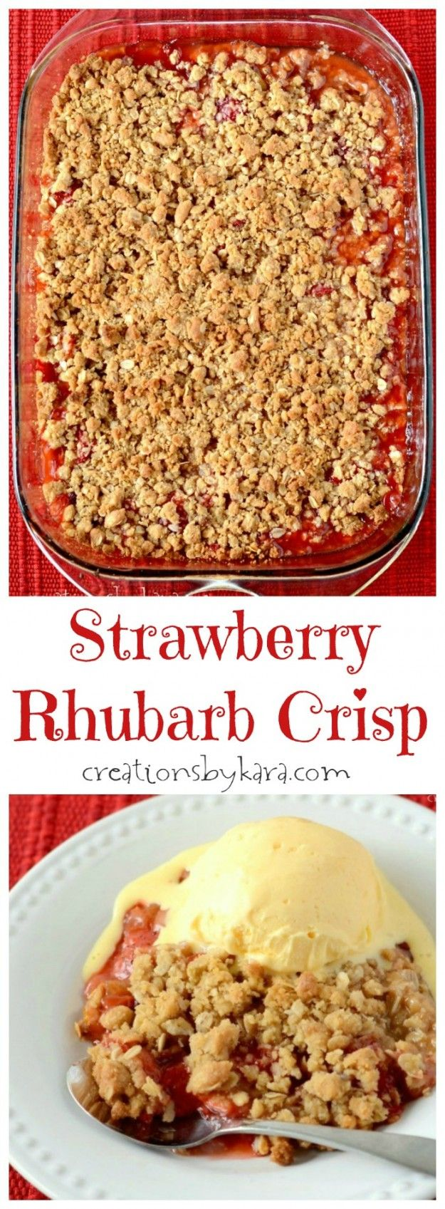 This Strawberry Rhubarb Crisp recipe is a great way to use up that rhubarb from your garden!