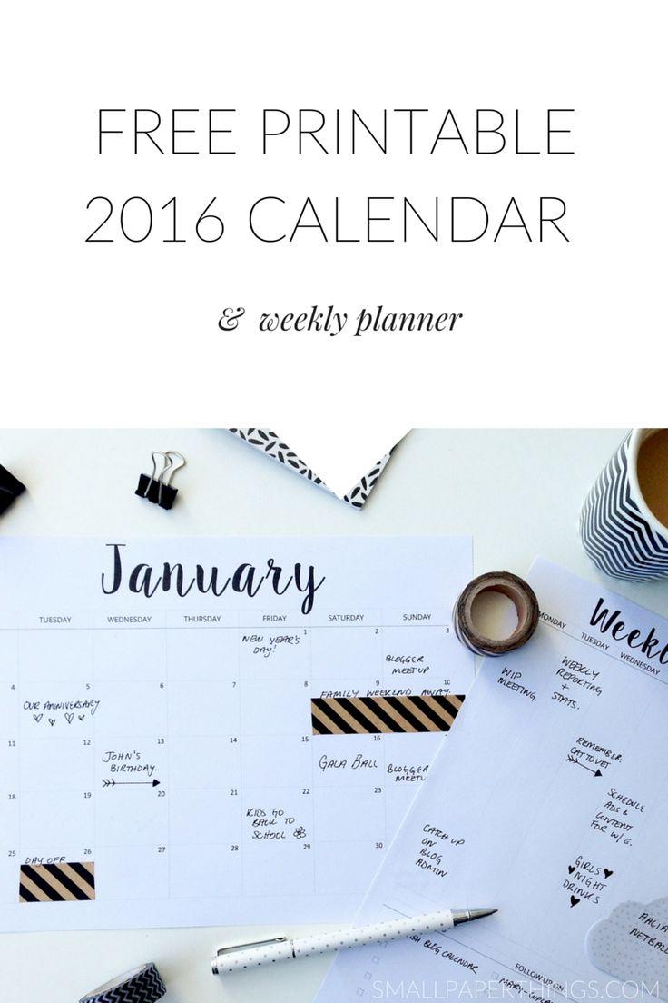 FREE Printable Calendar 2016 & Printable Weekly Planner Minimalist/Monochrome Style