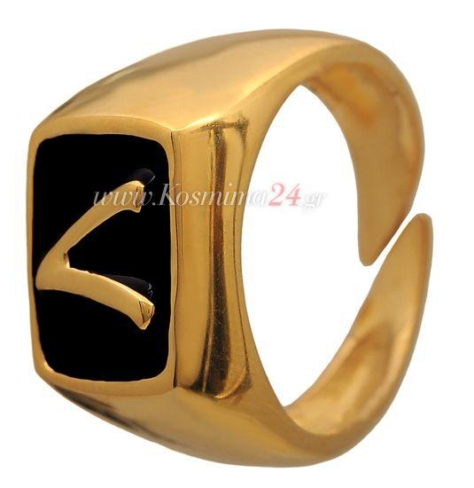 ασημενιο δαχτυλιδι με μονογραμμα