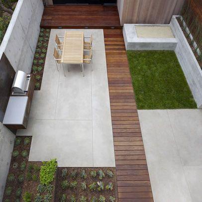 Patio idea landscaping pinterest for Small rectangular garden design