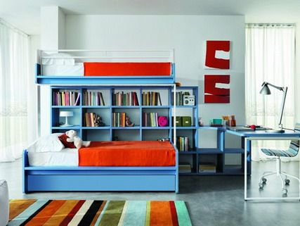 White Wall Paint and Bunk Beds Furniture with Storage in Teenagers Modern Bedroom Interior Decorating Designs Ideas