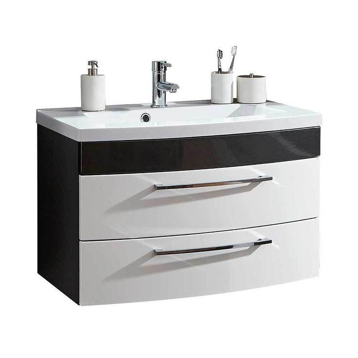 Waschtischunterschrank Mit 2 Schubladen Weiß Hochglanz Anthrazit Jetzt  Bestellen Unter: Https://moebel