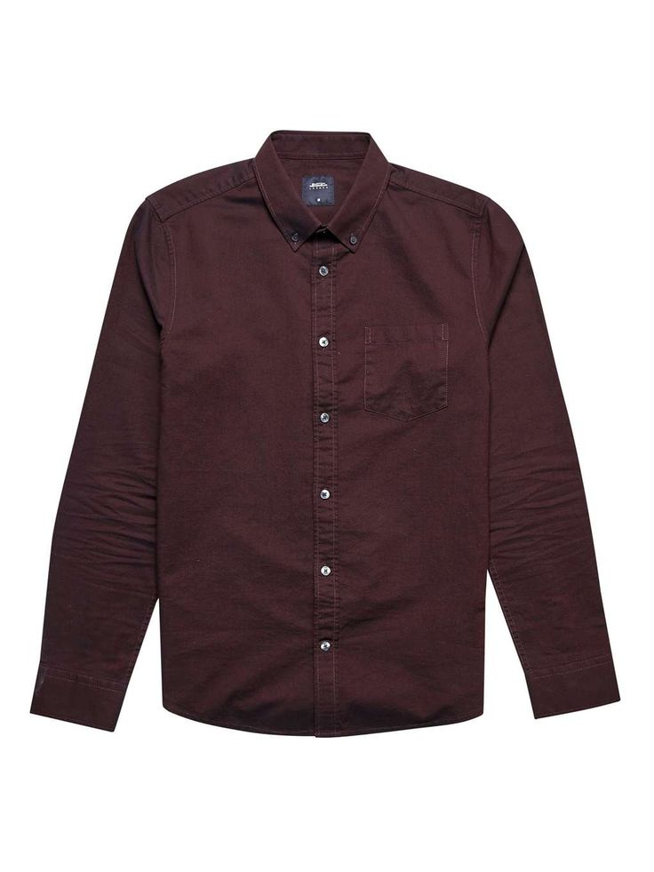 Plum Long Sleeve Oxford Shirt - Mens Shirts - Clothing - Burton Menswear