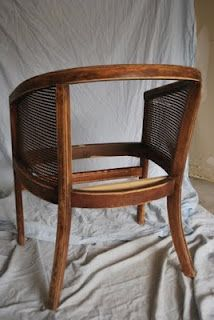 Steps to re-upholster a cane back barrel chair. So doing this.. Got my great grandma chairs like this