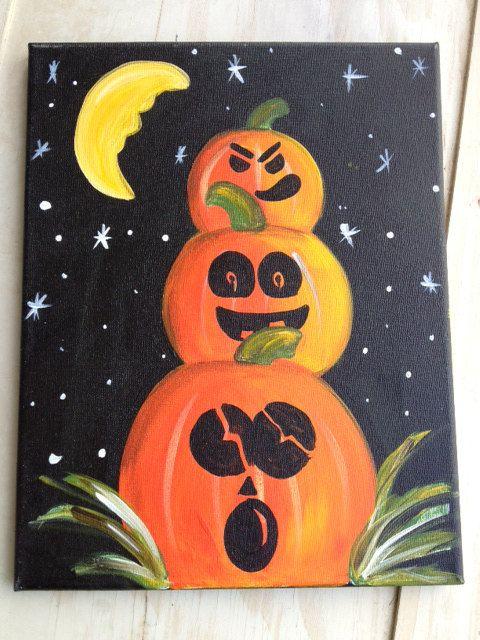 PUMPKIN TRIO Halloween Spooky Orange & Black by PixelStickStudio, $20.00