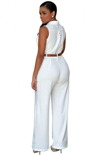 61d71494cc8a7 Womens Elegant Sleeveless Belted Wide Leg Jumpsuit White - PINK QUEEN