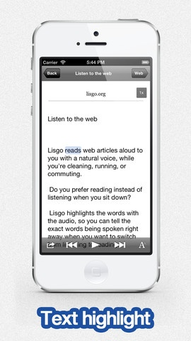 Lisgo - Text To Speech Voice Reader For Web News ($0.00) Wish you had more time to read? Lisgo reads web articles to you, while you're cleaning, running, or commuting.