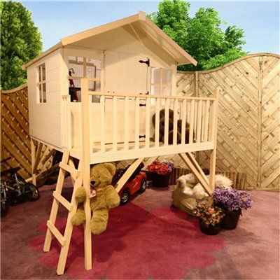 Lollipop Junior Tower Wooden Playhouse Including Floor at £279.99 from Gardenbuildingdirect