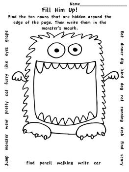 FREE! This fun freebie makes learning nouns much easier than petting a hungry monster! Quick and easy min-lessons make it easy for teachers too!