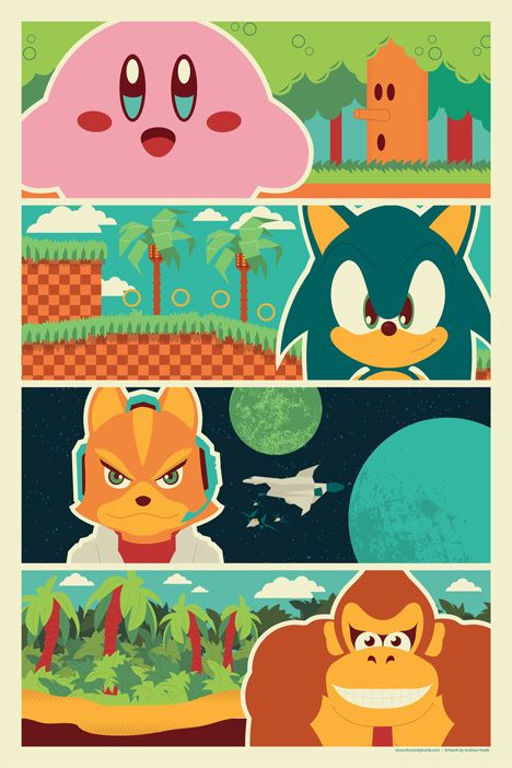 "90's Poster -  You get the Andrew Heath designed, exclusive print ""90's Heroes."" The print features Kirby, Sonic, Star Fox, and Donkey Kong. This 12""x18"" print was designed exclusively for TheNerdyBomb"
