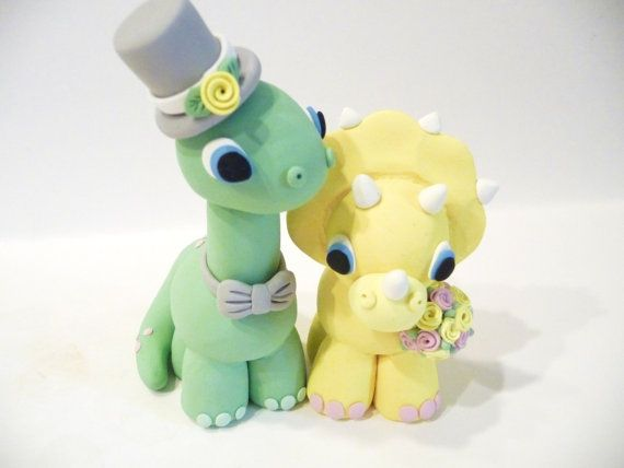 Dinosaur Wedding Cake Topper -Choose Your Colors by topofthecake, $55.00  Holy crap. Totally for THIS girl :)
