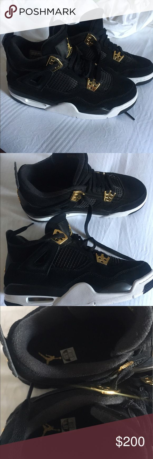 """Jordan Retro 4 """"royal"""" 2017 Release Brand New Jordan's  #4 """"royal"""" black with white sole and gold details selling because they aren't my size brand new condition Jordan Shoes Sneakers"""