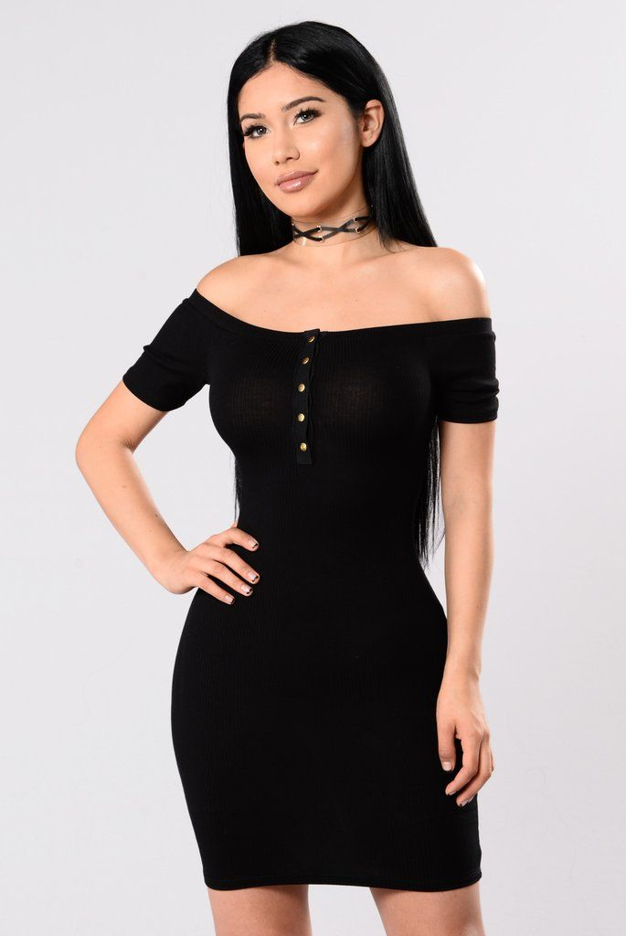 - Available In Black - Off The Shoulder - Fitted Rib - Knit Dress - Snap Button Front - Made in the USA - 96% Polyester 4% Spandex