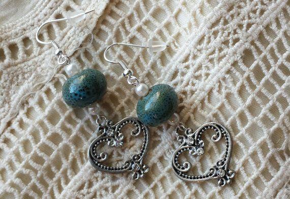 Silver Heart Dangle Earrings by GypsyJunkStudio on Etsy