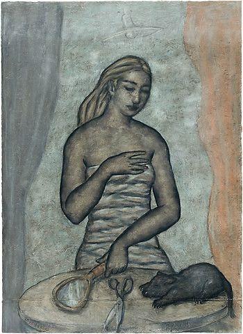 Svein Bolling <em>Kvinne med kjæledyr</em><br />pastell, 119,5x85 cm